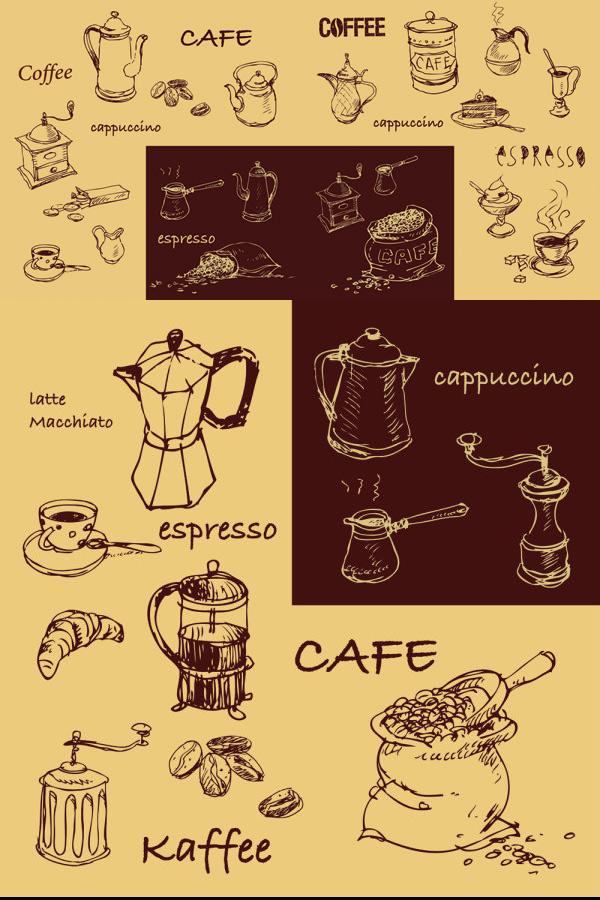 0 点 关键词: 手绘咖啡线稿矢量,手绘,咖啡,线稿,素描,咖啡机,咖啡豆