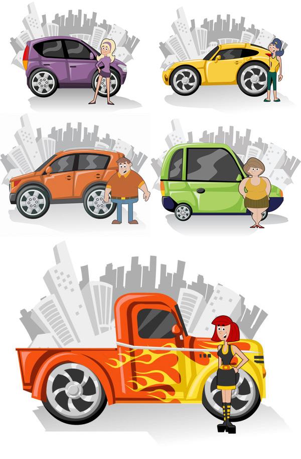 可爱的卡通人物与汽车,可爱,卡通,人物,汽车,车,城市剪影,少女,矢量