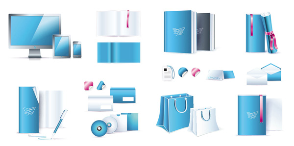 蓝色办公用具_矢量办公用品