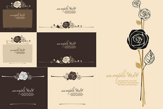 欧式简约玫瑰折页封面矢量素材
