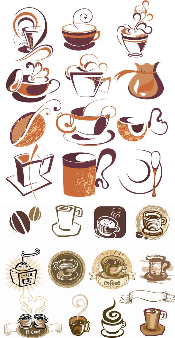 线稿咖啡元素矢量