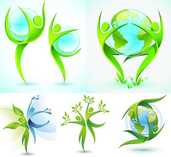 环保 素材 图标/3D人形环保图标
