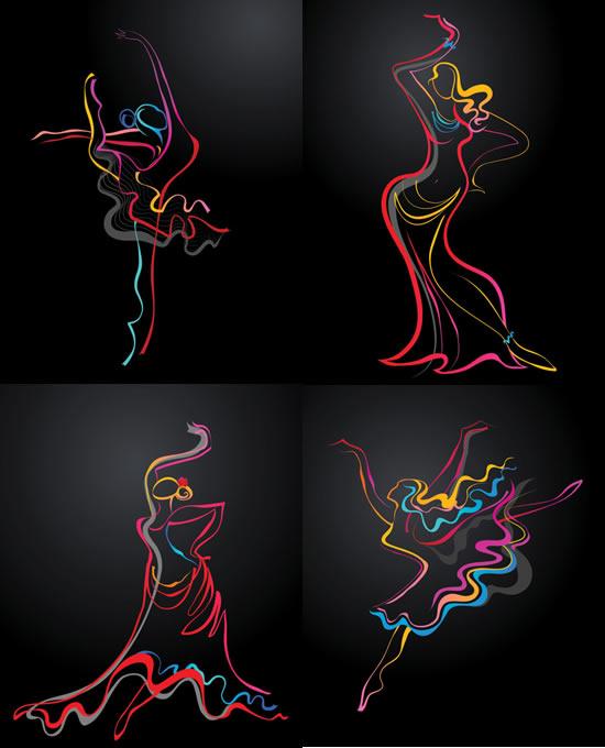 0 点 关键词: 抽象跳舞人物矢量素材,人物线条,动感彩条,舞蹈人物