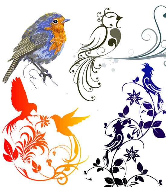 关键词: 花鸟纹样矢量素材,可爱小鸟,花纹,延伸花纹图片素材,免费