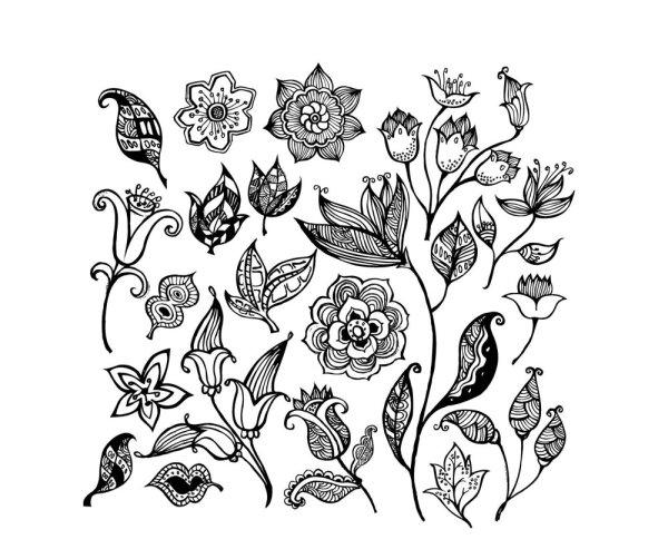 黑白花纹花朵