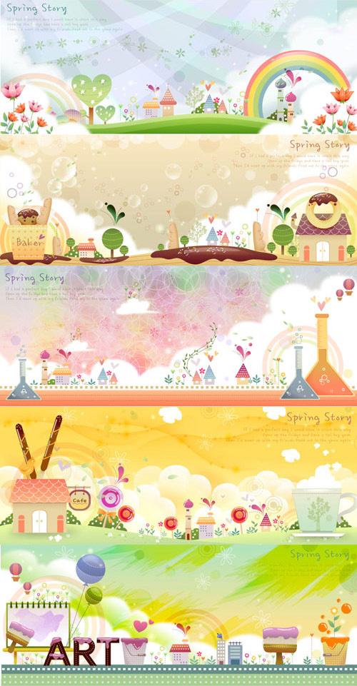 0 點 關鍵詞: 卡通風景畫矢量圖下,卡通風景,彩虹,房子,樹木,天空,刷