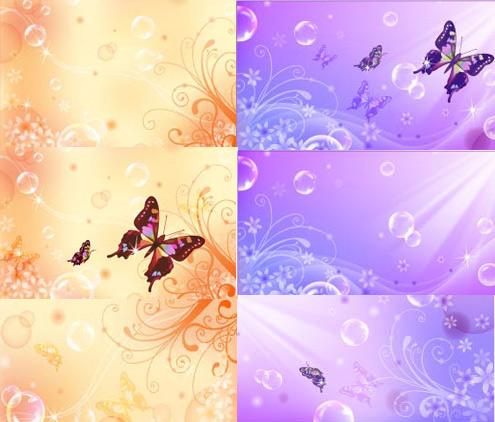 关键词: 梦幻蝴蝶花纹背景矢量素材,透明泡泡,梦幻气泡,花纹底纹