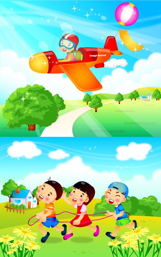 0 点 关键词: 卡通儿童矢量素材,儿童节,卡通飞机,绿色花草,气球