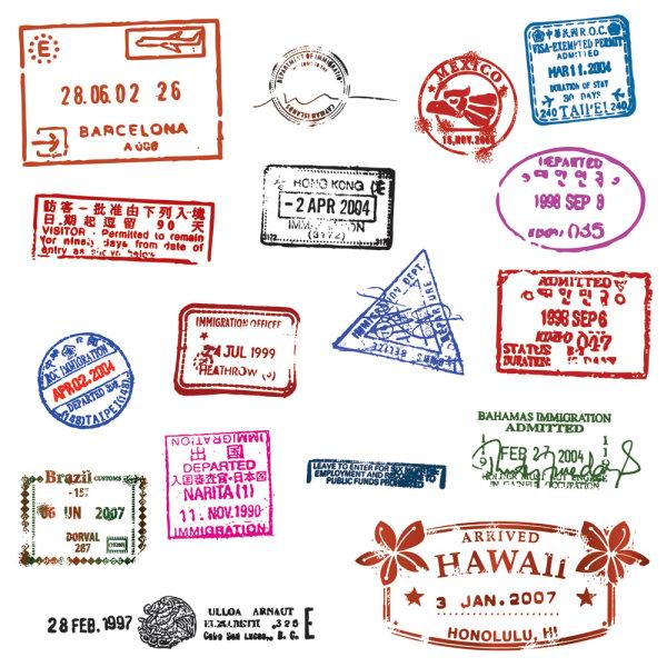 护照邮票印章