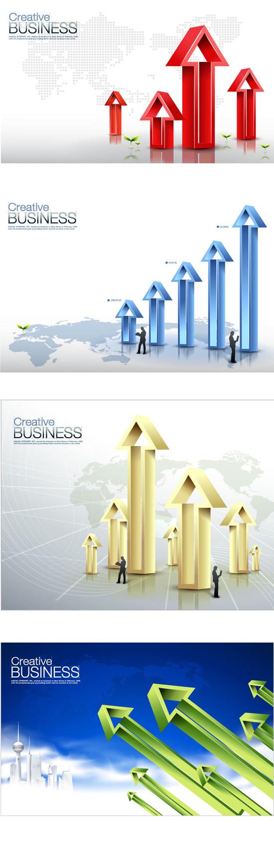 商务数据箭头海报_矢量商务金融