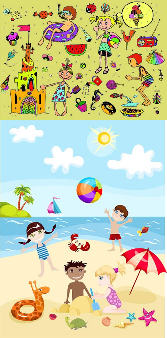 夏天海边游泳卡通