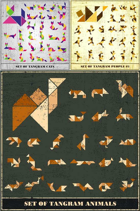 七巧板,几何图形,三角形,正方形,菱形,矩形,拼图图片素材,免费设计eps