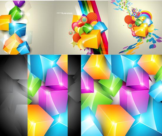 创意七彩方块背景