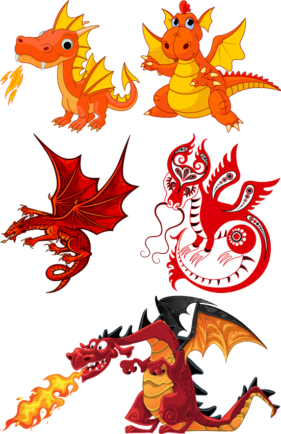Pictures of Cartoon Dragons Breathing Fire Fire-breathing Dragon Vector