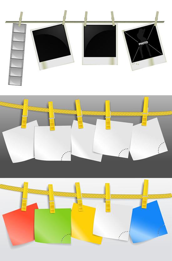尼龙绳夹子晾晒背景矢量素材