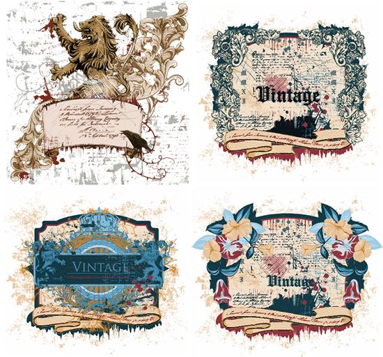 斑驳老旧,古典装饰,边框,欧式花边,精美纹样,狮子,皇冠,鲜花边框图片