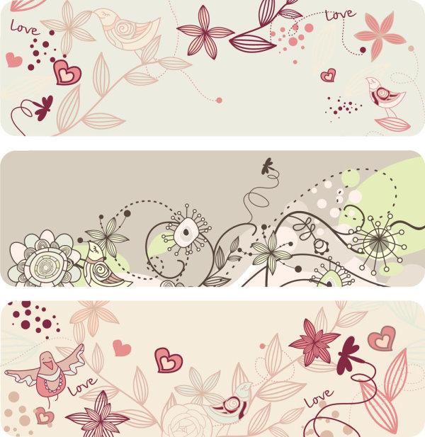 线条花卉图案
