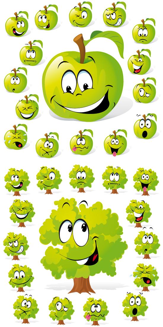 绿树搞怪表情矢量素材,卡通,苹果绿树,搞怪表情,头像表情,可爱植物