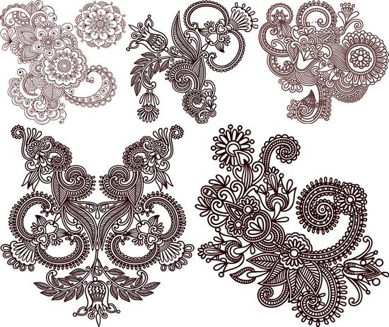 古典花卉纹样_矢量传统图片