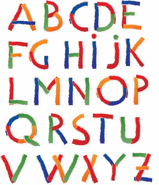 素材分类: 矢量艺术字所需点数: 0 点 关键词: 彩色纸条拼贴英文字母