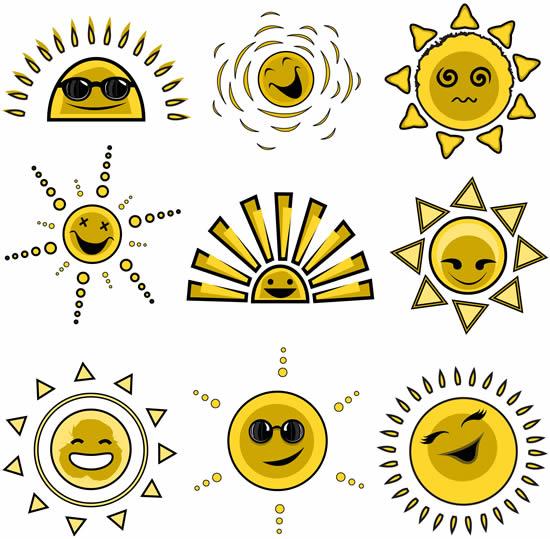 卡通太阳头像表情
