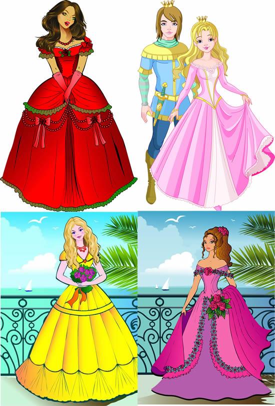 卡通漂亮公主王子图片