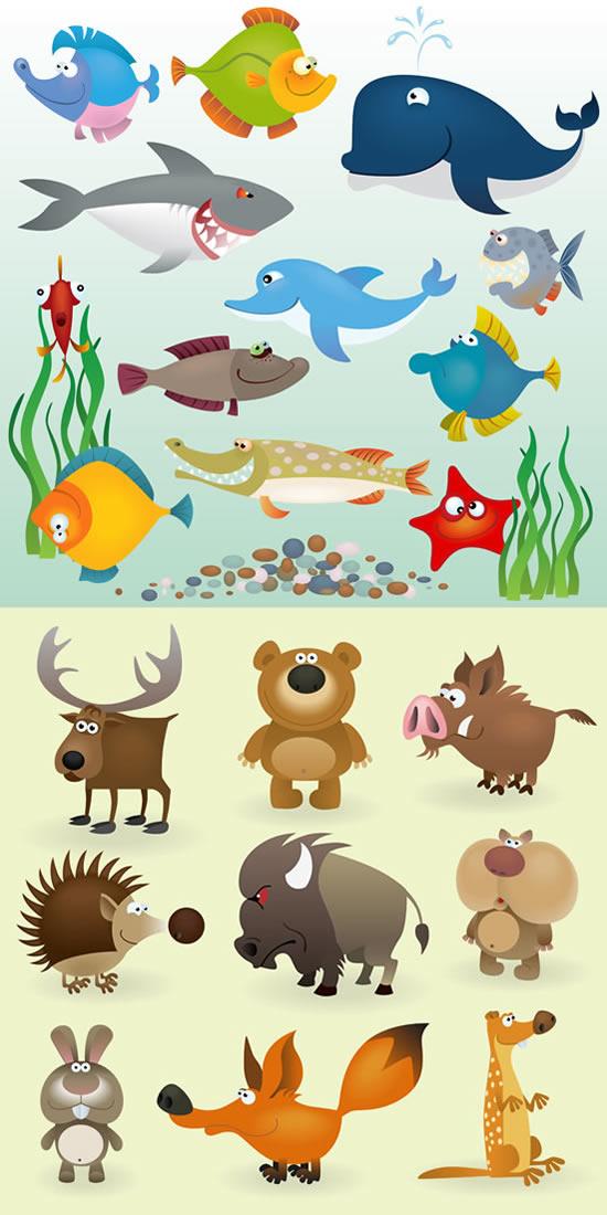 卡通鱼类陆地动物_矢量卡通动物 - 素材中国_素