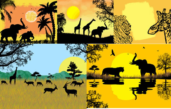 风光,太阳,棕榈树,湖水,动物剪影,狮子,长颈鹿,非洲象,羚羊,非洲风景