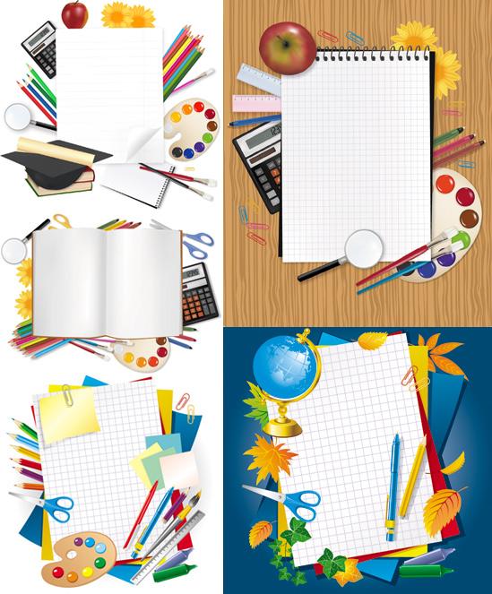 圆珠笔,彩色铅笔,标签,便利贴,曲回针,纸张,计算器,苹果,放大镜,矢量