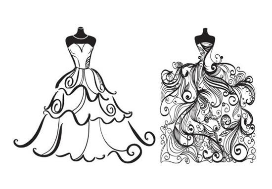 Wedding Dress Line Drawing : Line drawing of wedding m cripts vector life baike