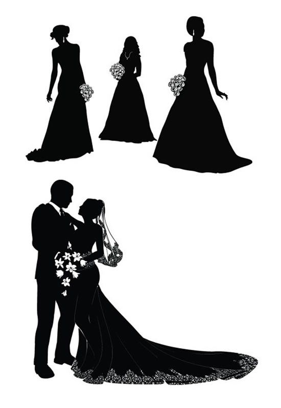 Bride and groom silhouette vector | Vector character