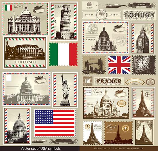 建筑国旗邮票