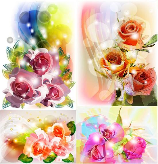 水彩画玫瑰花绿叶