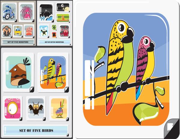 卡通动物形象卡片_矢量名片卡片