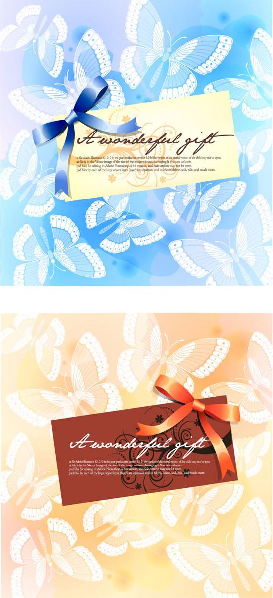 卡片蝴蝶飞舞背景矢量图,花纹卡片,蝴蝶飞舞,背景,蝴蝶结,装饰丝带