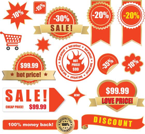 超市折扣标签矢量图,标签,超市标签,打折标签,齿轮标签,丝带,心形