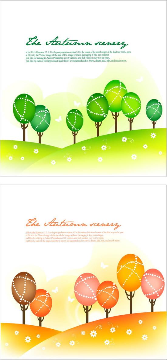 抽象山坡树林背景_卡通矢量插画 - 素材中国_素材cnn