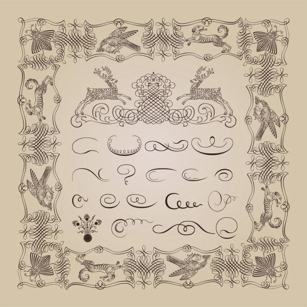 关键词: 精美装饰花纹矢量素材,花纹,装饰,边框,图案,单线,矢量素材