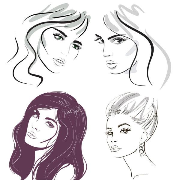 线条,美女,头像,手绘