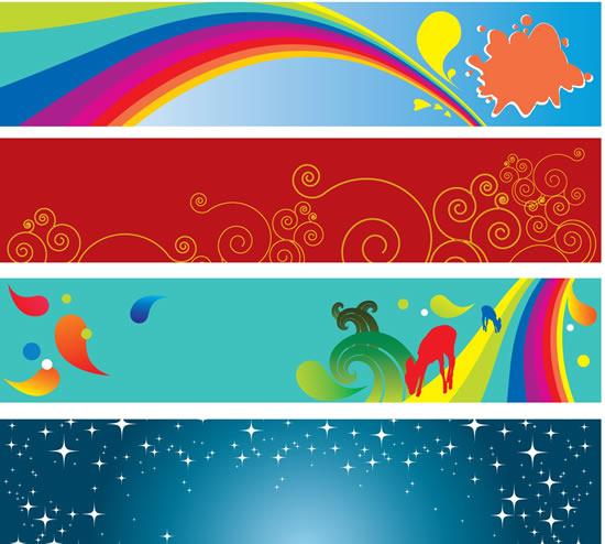 艺术花纹星空横幅矢量图,艺术花纹,星空横幅,卷曲线条,彩虹,动物剪影