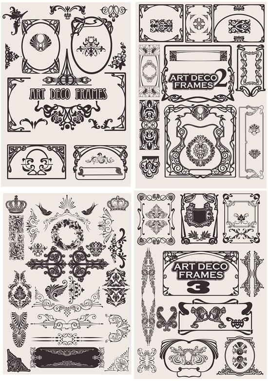 古典纹样,欧式花纹,样式,皇冠,小鸟,线条花边,精美花纹图片素材,免费