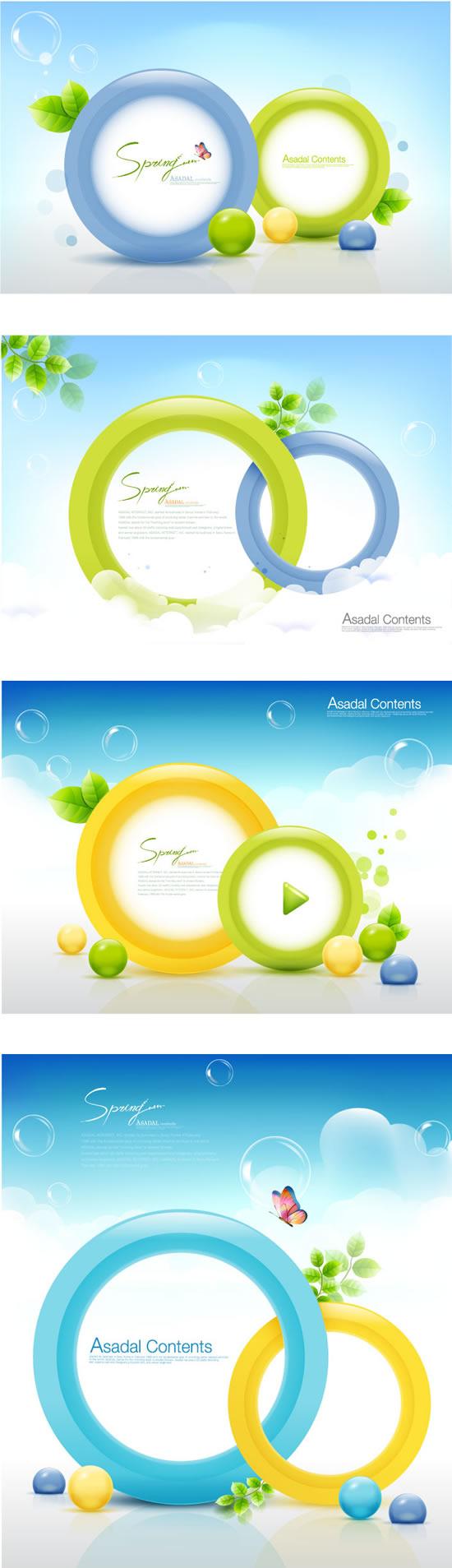 彩环气泡,背景,嫩绿树叶,蝴蝶飞舞,彩球,清新背景图片素材,背景ai矢量