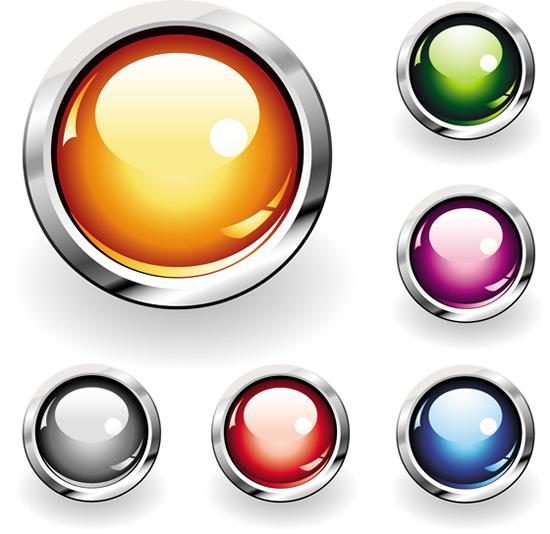 银亮圆环炫彩按钮设计矢量图,银亮圆环,炫彩按钮,设计,晶亮按钮图片
