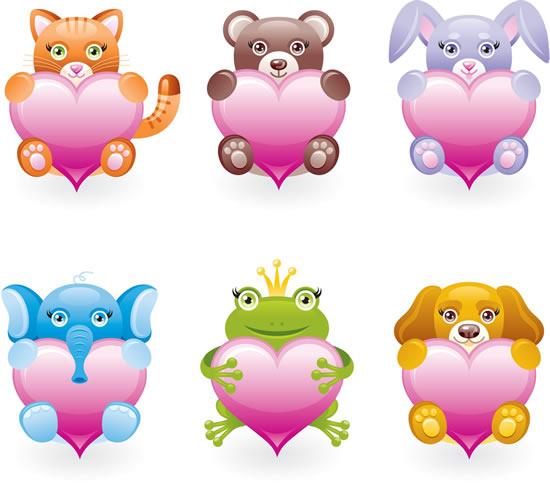 矢量卡通动物所需点数: 0 点 关键词: 卡通怀抱爱心动物设计矢量图