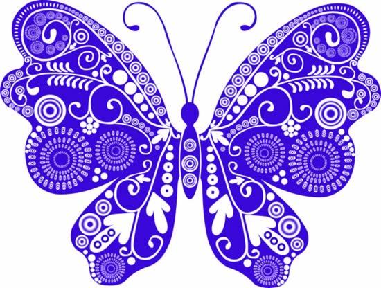 创意花纹,蓝色蝴蝶,箭头,同心圆,圆环,彩绘蝴蝶图片素材,动物ai矢量