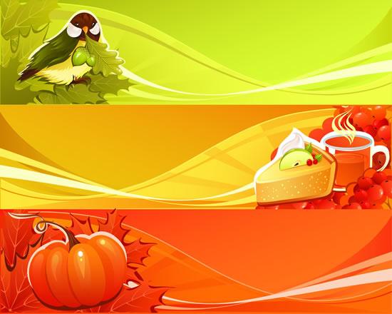 素材分类: 矢量背景所需点数: 0 点 关键词: 小鸟糕点果蔬树叶横幅
