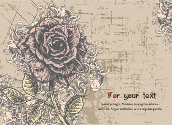 手绘花朵明信片
