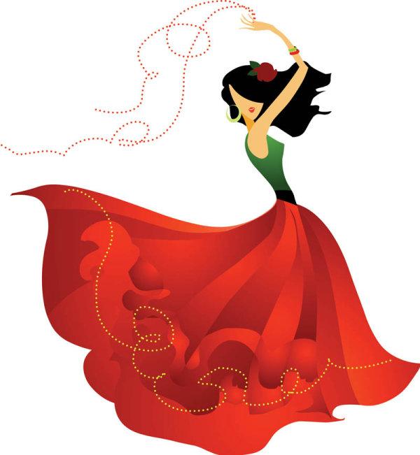 红裙子女孩卡通