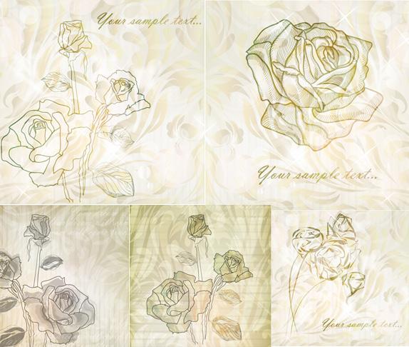 淡雅玫瑰花纹背景矢量素材,淡雅,玫瑰,花纹,背景,线条,底纹,纹理