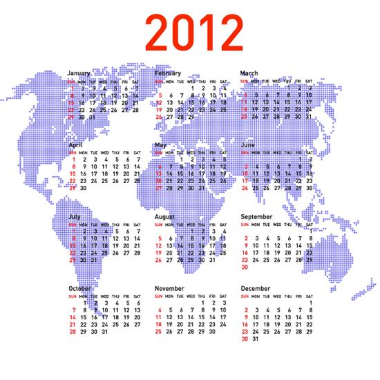 2012新年,蓝色地图,年历,世界地图,日历表,马赛克日历图片素材,免费年图片